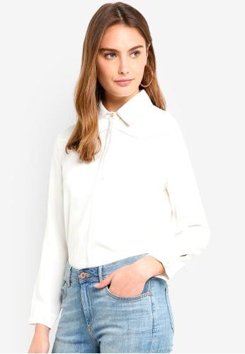 ESPRIT white Woven Long Sleeve Blouse 95299AAD11E6FFGS_1