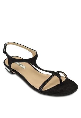 T字閃飾繞踝涼鞋zalora 手錶, 女鞋, 鞋