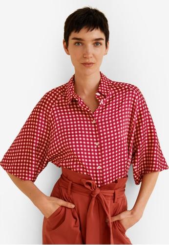 Mango red Oversize Checkered Shirt ECC13AA07320AEGS_1