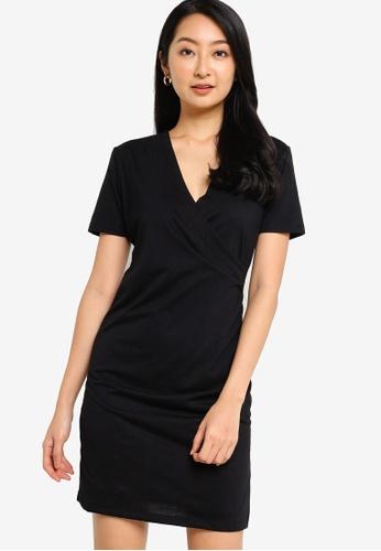 ZALORA BASICS black Wrap Dress With Ruching Detail 5BC86AABF9D101GS_1