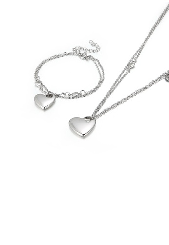 Glamorousky 銀色 簡約時尚心形316L鋼雙層項鏈和手鏈套裝 3857DACACB7880GS_1