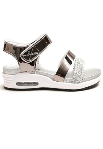 Crystal Korea Fashion 銀色 韓國製百搭舒適氣墊涼鞋 6A0B6SHB1806CBGS_1