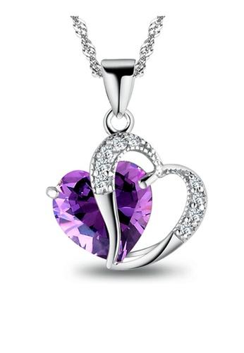 YOUNIQ silver YOUNIQ Lavender Love 925 Sterling Silver Necklace Pendant with Purple Cubic Zirconia YO999AC09SGGMY_1
