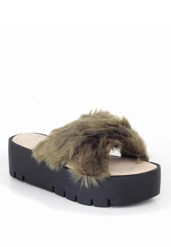 London Rag green Women Summer Faux Fur Slipper B8630SH9A3B048GS_1