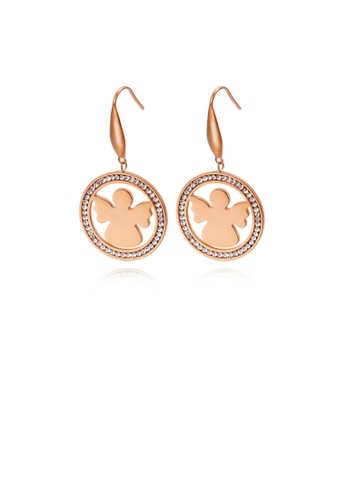 Glamorousky white Fashion and Elegant Plated Rose Gold Geometric Round Angel 316L Stainless Steel Earrings with Cubic Zirconia B3239AC3483242GS_1