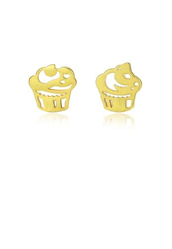 Glamorousky silver 925 Sterling Silver Plated Gold Fashion Sweet Ice Cream Asymmetric Stud Earrings ED593AC8DD0FD3GS_1