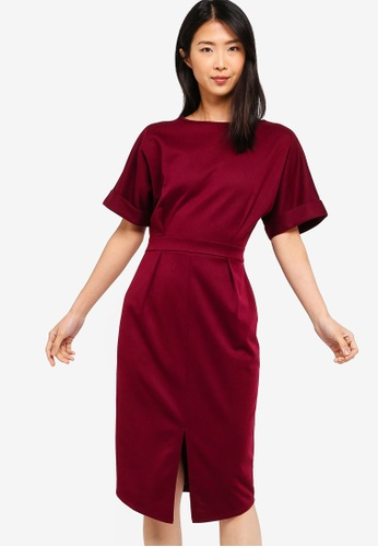 ZALORA BASICS red Basic Drop Shoulder Dress BE4EDAA2FAA295GS_1