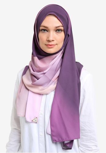 Cakenis purple Cakenis Premium Printed Chiffon Shawl CA625AA43TAQMY_1