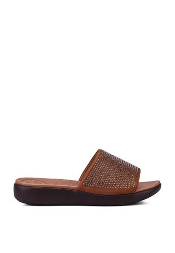 Noveni brown Metal Detail Sandals D09A1SHA8AEBD3GS_1