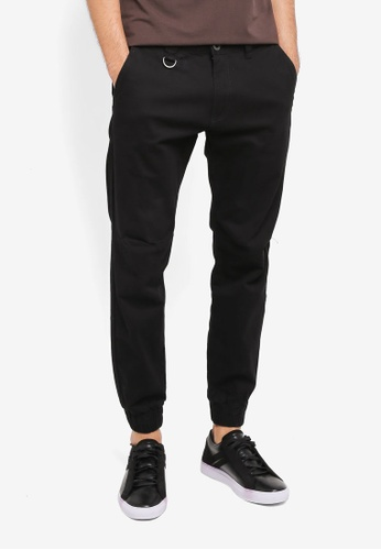 SPARROW GREEN black Ike Slim Stretch Joggers SP065AA0ST5IMY_1