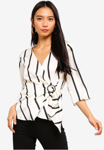 River Island white and multi Stripe Wrap Front Horn Ring Blouse 07E76AA31FDB2AGS_1
