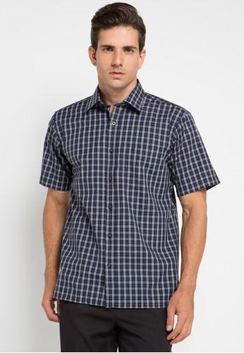Manhattan navy Shirt Short Sleeve MA642AA0UKDMID_1