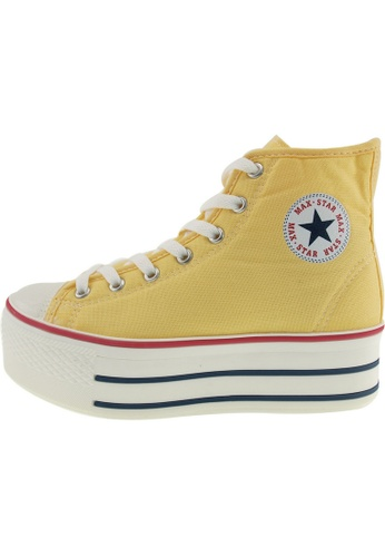 Maxstar 黃色 新款韩国鞋C50-7H時尚帆布布混合女黃色 US Women Size MA345SH96GTJTW_1