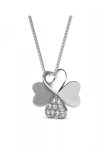 Her Jewellery silver Her Jewellery Clover Pendant (White Gold) with Necklace Chain with 18K Gold Plated 0A4FBACC1CCBF0GS_1
