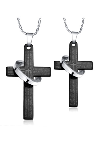Trendyshop black Cross Couples Pendant Necklace Set BAF2AACCA68D45GS_1