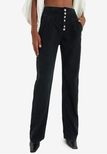 Trendyol black High Waist Wide Leg Jeans F1ED6AA89A348EGS_1