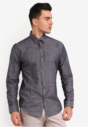 Kent & Crew grey Slim Fit Long Sleeve Shirt KE579AA0RJROMY_1