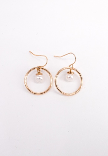 Leline Style white and gold Chloe Round Pearl Earrings D8375AC9D50A7CGS_1