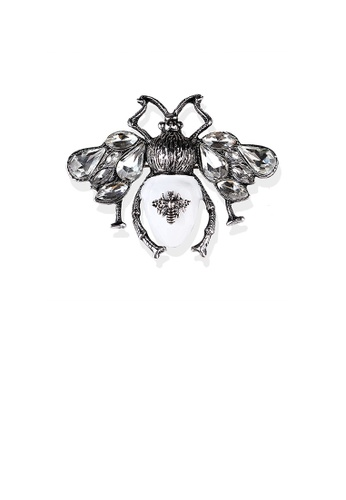 Glamorousky white Fashion Vintage White Bee Brooch with Cubic Zirconia 3690AAC18F95A8GS_1