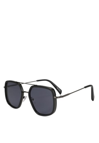 ALDO black Umerien Rectangular Aviator Sunglasses 8F6B6GLD8E5262GS_1