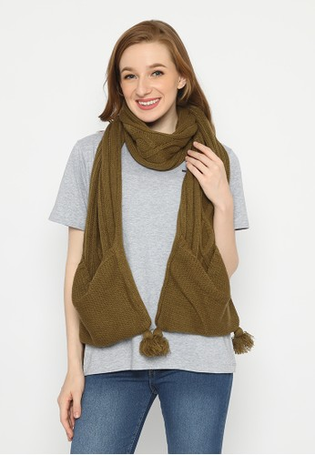 Mobile Power brown Mobile Power Ladies Syal Scarf Shawl Knitted Brown - SY60069 9C048AA320C40BGS_1