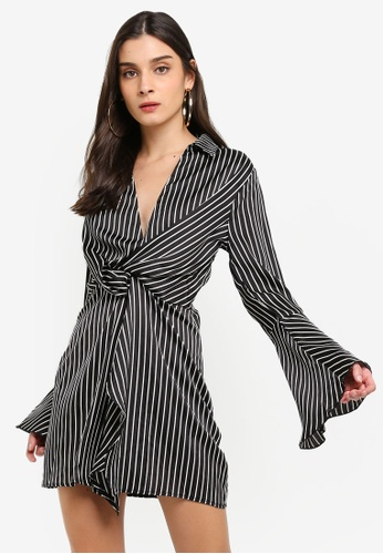 MISSGUIDED black Pinstripe Twist Front Dress 8D8A7AACF5741CGS_1