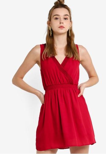 Something Borrowed 紅色 蕾絲滾邊無袖洋裝 CB1E0AAF3A924EGS_1