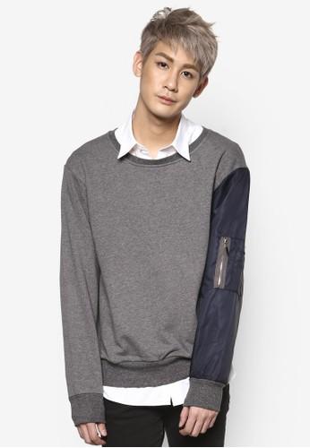 拼色混合針織長袖衫,zalora 手錶 評價 服飾, 運動衫