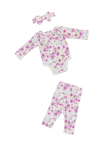 Baby Lovett white Floral Love Bodysuit and Pants Set with Headband 8D861KAC361FCAGS_1