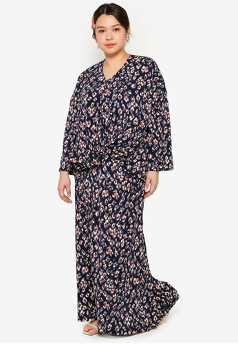 Lubna navy Plus Size Stretch Front Twist Kurung Set F3226AAB1A4FFBGS_1
