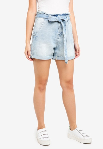 ZALORA blue High Waist Paperbag Shorts DC027AA2BE4BDBGS_1