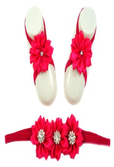 Baby Headband and Barefoot Sandals (with Satin Flower and Acrylic Rhinestone ) Fushcia Pink Set 0mons+