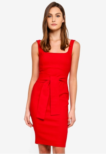 Vesper red Nala Square Neck Dress With Belt 8D3F6AA9098648GS_1