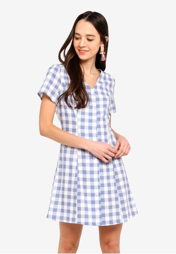 Something Borrowed blue Button Down Fit And Flare Dress 598EEAAAACDF0EGS_1