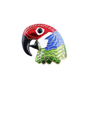 Glamorousky silver Fashion and Elegant Enamel Colored Woodpecker Brooch 4DEC7ACA03C926GS_1