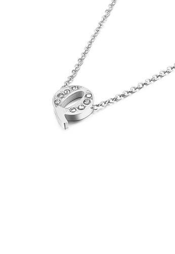 Glamorousky white Fashion Personality English Alphabet Q 316L Stainless Steel Pendant with Cubic Zirconia and Necklace CC511AC6564BDAGS_1