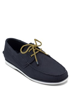 Faux Leather Boat Shoes With Caterpillar Lacing