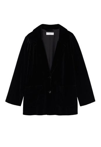 MANGO KIDS black Velvet Suit Blazer AB81DKADA844CCGS_1