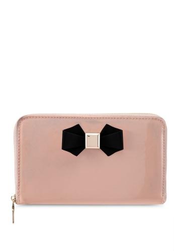 Velvet pink Bow Detail Clutch 29F81AC7923BA3GS_1