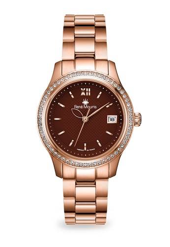 René Mouris multi Lola Collection - 34mm Stylish Quartz Watch For Ladies - Crystal on Bezel - Rose Gold Tone - Made in France 0EE2AAC94E52C5GS_1