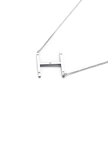Glamorousky white Simple Personality English Alphabet H 316L Stainless Steel Pendant with Cubic Zirconia and Necklace 69826ACB42007FGS_1