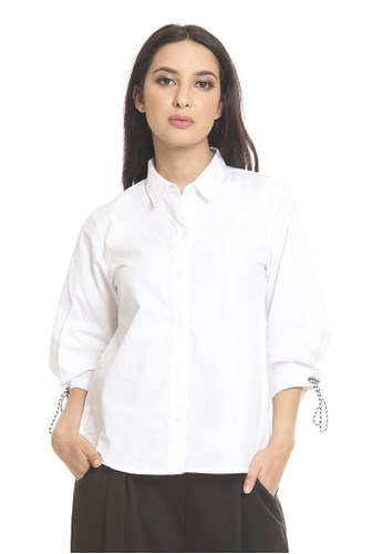 et cetera white Shirt with pleated sleeve & contrast drawstring 0A346AA1BB1E40GS_1