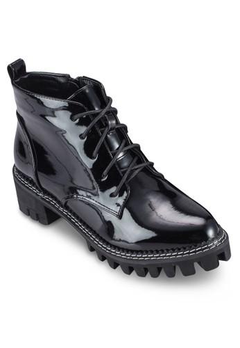 漆皮繫帶短靴, 女鞋, 靴esprit 衣服子
