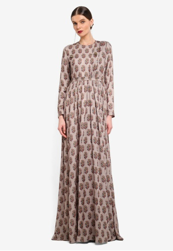 Rizalman for Zalora white and multi Pratihar Anarkali Maxi Dress RI909AA0SEZHMY_1