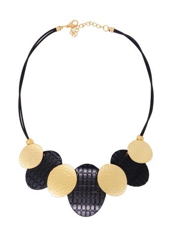 Jaysa Collection black Chic Industrial Waffle Plates Necklace JA875AC0GI05SG_1
