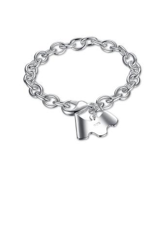 Glamorousky silver Simple Elegant Fashion Cute Puppy Bracelet 38976AC05DBE3CGS_1