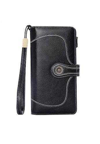 Twenty Eight Shoes black VANSA Burnished Leather Bi-Fold Long Wallet VBW-Wt5186 18638AC0D3D47DGS_1