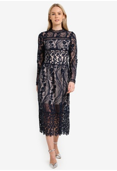 8e71f15f4d2 60% OFF Miss Selfridge Premium Lace Long Sleeve Midi Dress S  289.00 NOW S   115.90 Available in several sizes