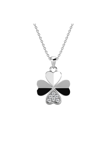 Her Jewellery Clover Petal Pendant (White Gold) - Embellished with Crystal from Swarovski® 9E800ACFC91F11GS_1