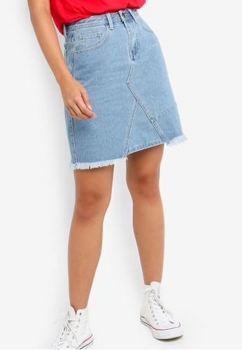 Something Borrowed blue Ripped Hem A-Line Denim Skirt 35676AA8CD87CEGS_1